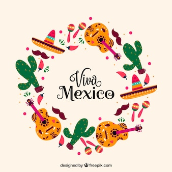 Circular viva mexico lettering background