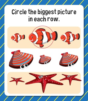 Circule a maior imagem em cada planilha de linha para crianças
