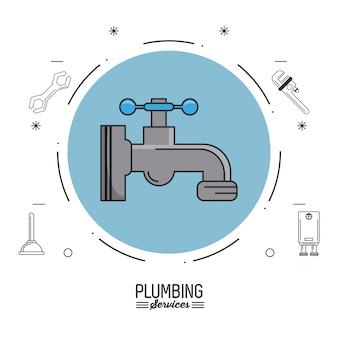 Circule com faucet e ícones de encanamento