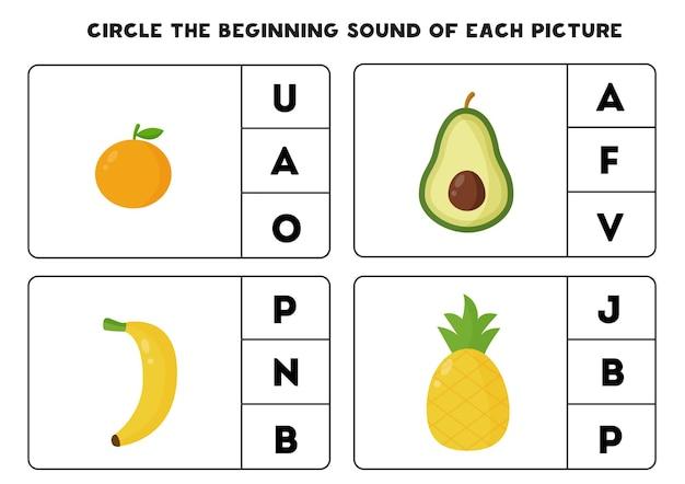 Circule o som inicial de cada imagem. jogo educativo para crianças.