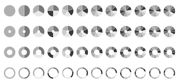Circule os gráficos de pizza em volta das seções ou etapas do diagrama