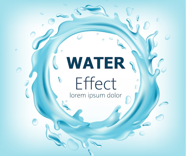Círculo abstrato de água corrente. lugar para texto. realista