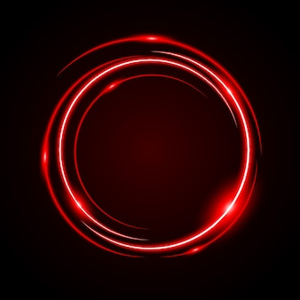 Círculo abstrato luz vermelha quadro vector background
