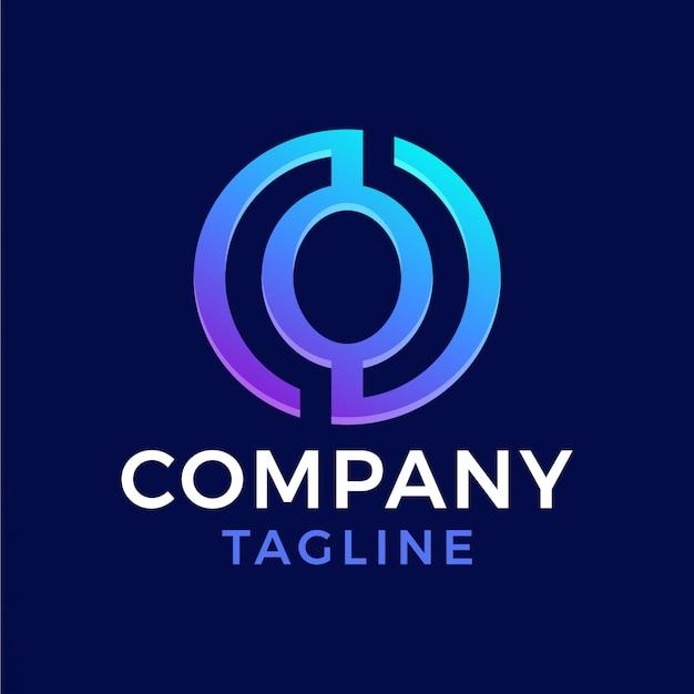 Círculo abstrato moderno letra o gradiente logotipo