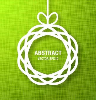 Círculo abstrato paper applique sobre fundo verde. ilustração vetorial.