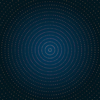Círculo abstrato pontos de ouro fundo azul.