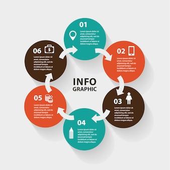 Círculo abstrato setas infográfico
