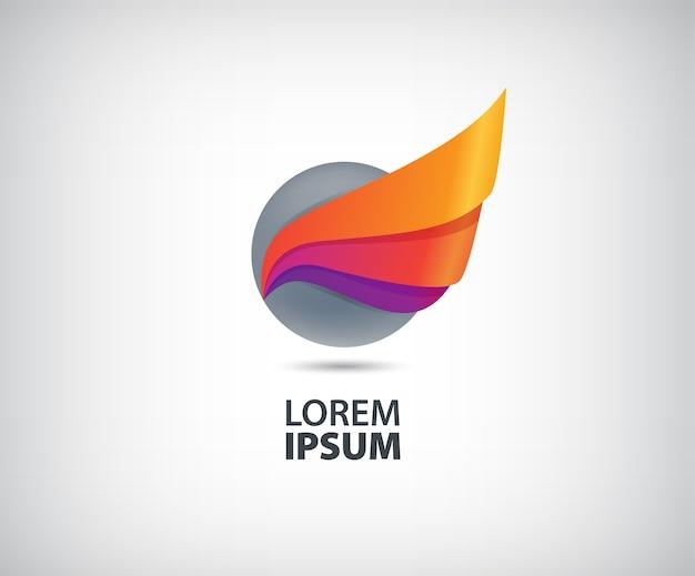 Círculo abstrato voando logotipo isolado