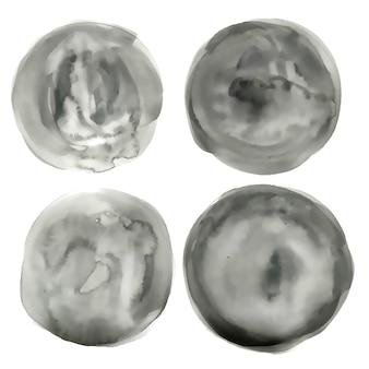 Círculo aquarela cinza textura de círculo conjunto de quatro