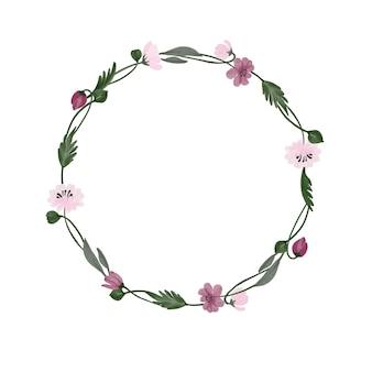 Círculo aquarela moldura floral