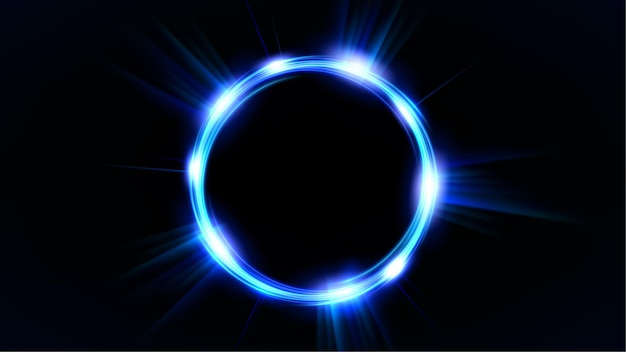 Círculo azul brilhante elegante anel de luz iluminada em fundo escuro