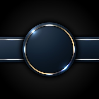 Círculo azul escuro e etiqueta listrada com linha dourada