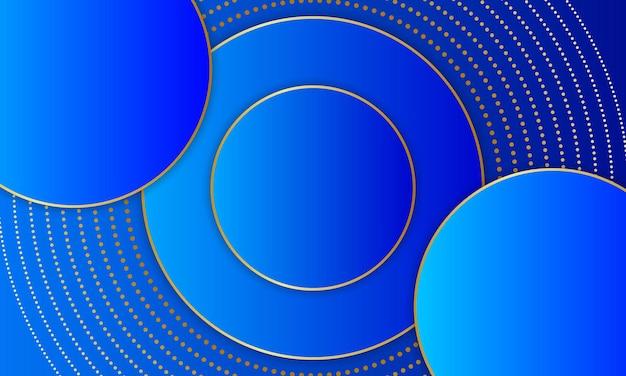 Círculo azul luxuoso sobreposto com linha dourada e ponto. design elegante para banner.