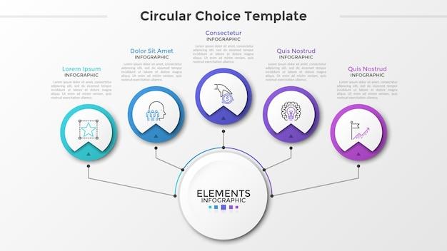Círculo branco do papel principal conectado a 5 elementos redondos com símbolos lineares dentro e caixas de texto por linhas. cinco opções circulares para escolher. modelo de design moderno infográfico. ilustração vetorial.