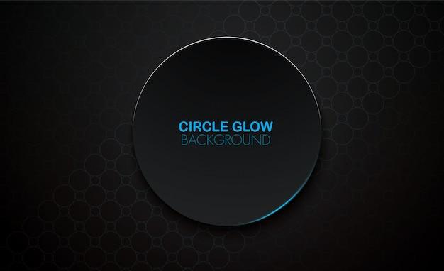 Círculo brilho 3d vector fundo preto, superfície azul brilho