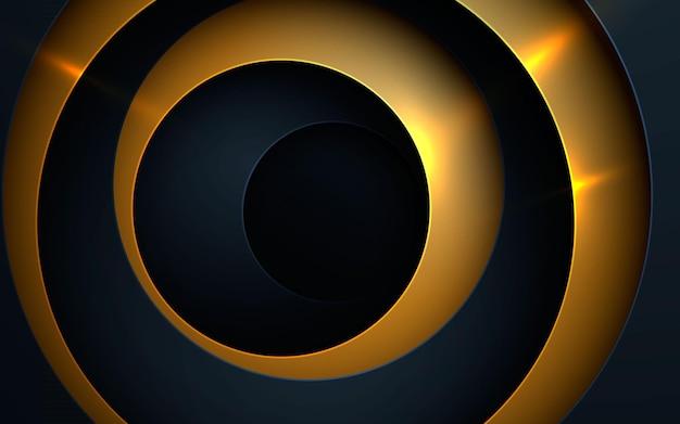 Círculo buraco preto e dourado com fundo de camadas sobrepostas
