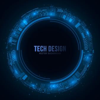 Círculo cibernético tecnológico feito de um esquema brilhante em um estilo futurista
