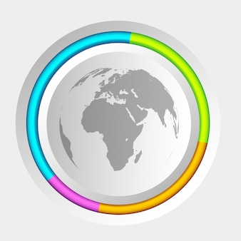 Círculo colorido e mapa global