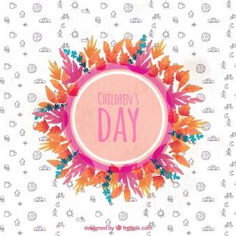 Círculo com as folhas para o dia das crianças