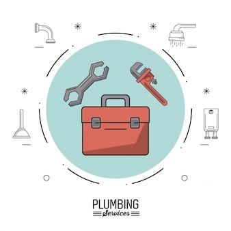 Círculo com caixa de ferramentas de encanamento e chave de tubo e chave inglesa
