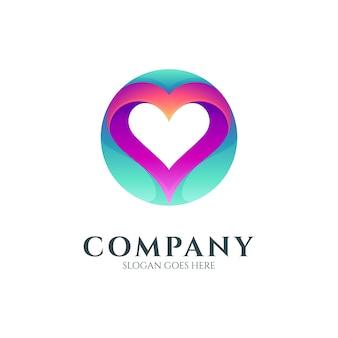 Círculo com coração ou conceito de logotipo de amor