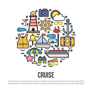 Círculo com elementos de cruzeiro náutico definido em branco