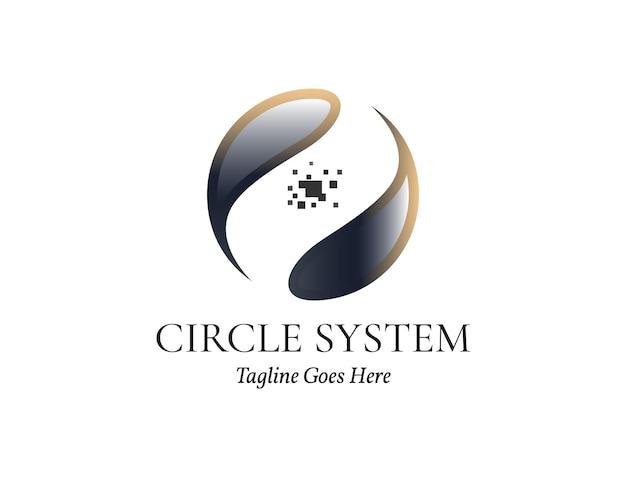 Círculo com pixels no centro para tecnologia de logotipo