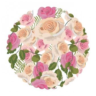 Círculo com plantas de rosas tropicais com folhas