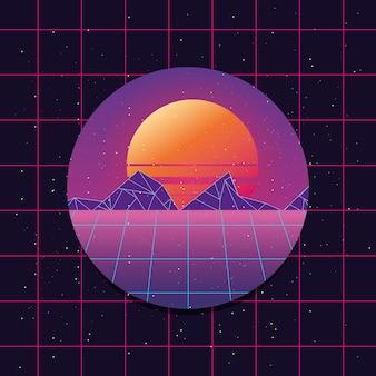 Círculo com retro futurista pôr do sol com sol e montanhas