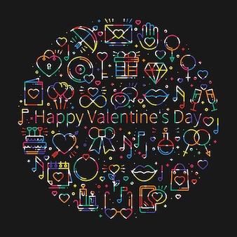 Círculo com símbolos de amor em estilo de linha