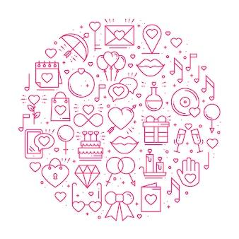Círculo com símbolos de amor.