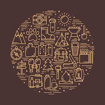 Círculo com símbolos de caminhadas e campismo