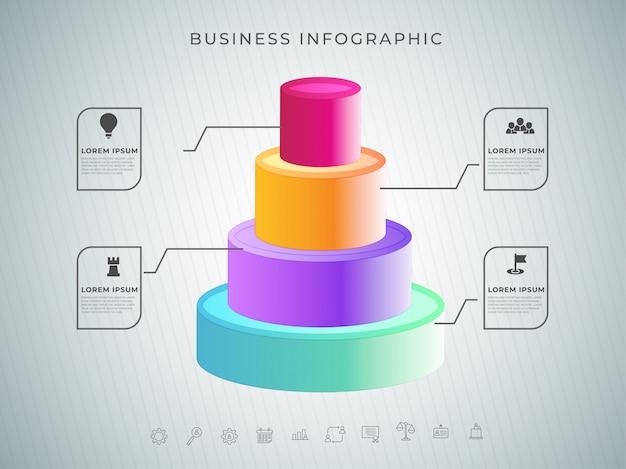 Círculo concêntrico 3d com quatro etapas diferentes para business info