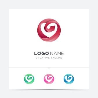 Círculo de amor com variação de logotipo de seta