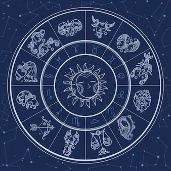 Círculo de astrologia. infográfico mágico com horóscopos de gêmeos símbolos do zodíaco roda peixe modelo de leão de áries de gêmeos