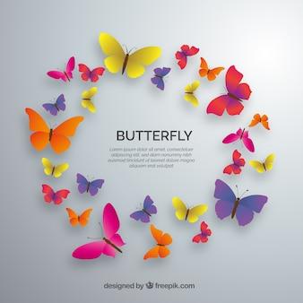 Círculo de borboletas coloridas