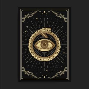 Círculo de cobras com olhos dentro de uma carta de tarô