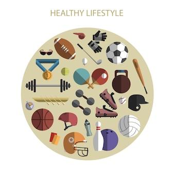 Círculo de composição de ícones de acessórios de esporte