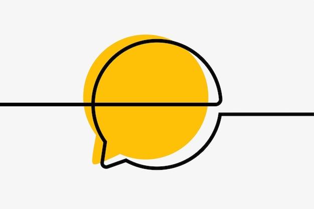 Círculo de comunicação da caixa de bate-papo arte em linha contínua on-line