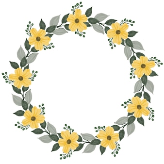 Círculo de coroa amarela moldura aquarela floral amarela