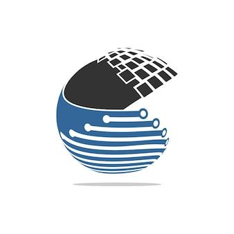 Círculo de dados para o logotipo de inspiração moderna cyber connect abstract