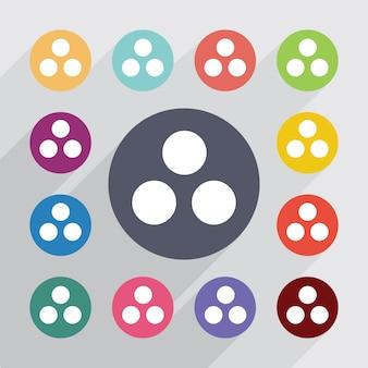 Círculo de diagrama de círculo, conjunto de ícones planas. botões coloridos redondos. vetor