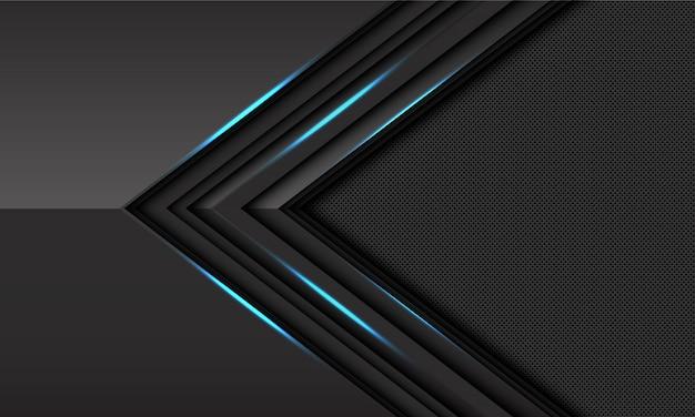 Círculo de direção de seta de luz azul cinza escuro malha fundo futurista.
