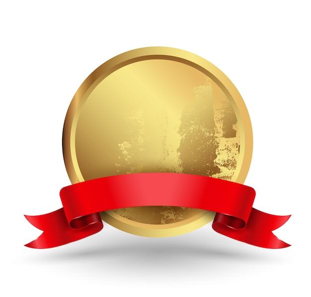 Círculo de distintivo com fita vermelha.