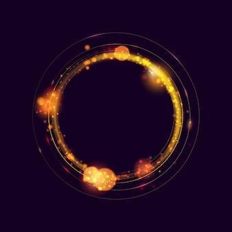 Círculo de efeito de luz dourado brilhante anel de luz. efeito brilho mágico de brilho