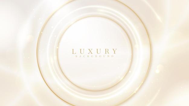 Círculo de efeitos de luz dourada de néon, fundo de luxo, design moderno da capa. conceito de modelo de cartão de convite. ilustração em vetor 3d.