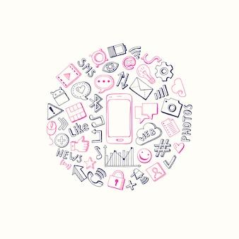 Círculo de elementos desenhados mão de mídia social