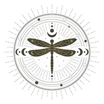Círculo de feitiço místico de inseto de libélula de bruxaria mágica. círculo de feitiço mágico de bruxaria, ilustração em vetor símbolo libélula mística. círculo de feitiçaria abstrata
