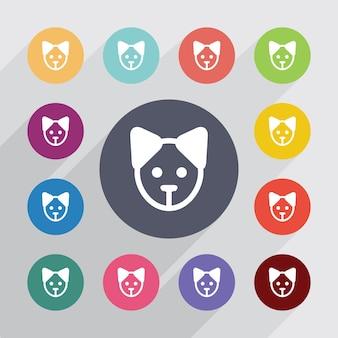 Círculo de filhote de cachorro, conjunto de ícones planas. botões coloridos redondos. vetor