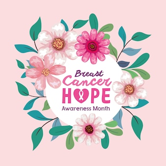 Círculo de flores com folhas de design, campanha e tema de prevenção do câncer de mama